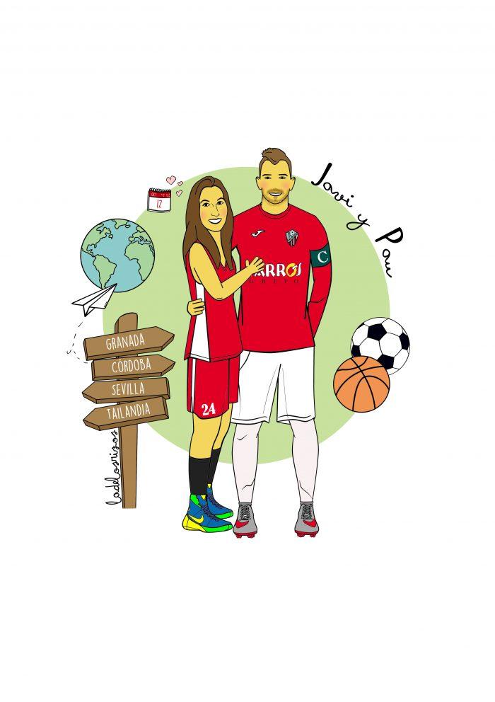 Ilustración personalizada de pareja